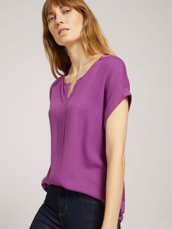 Henley T-Shirt im Materialmix - Frauen - plum blossom lilac - 5 - TOM TAILOR