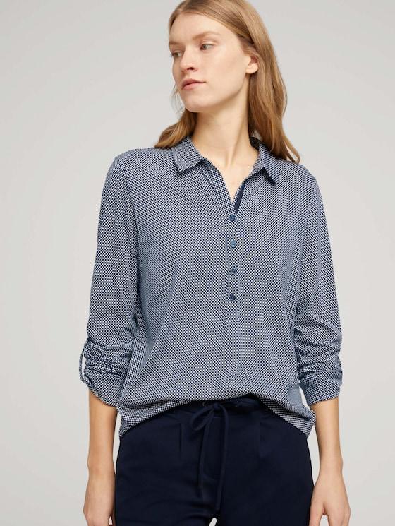 Gemustertes Henley Shirt - Frauen - navy dot print - 5 - TOM TAILOR