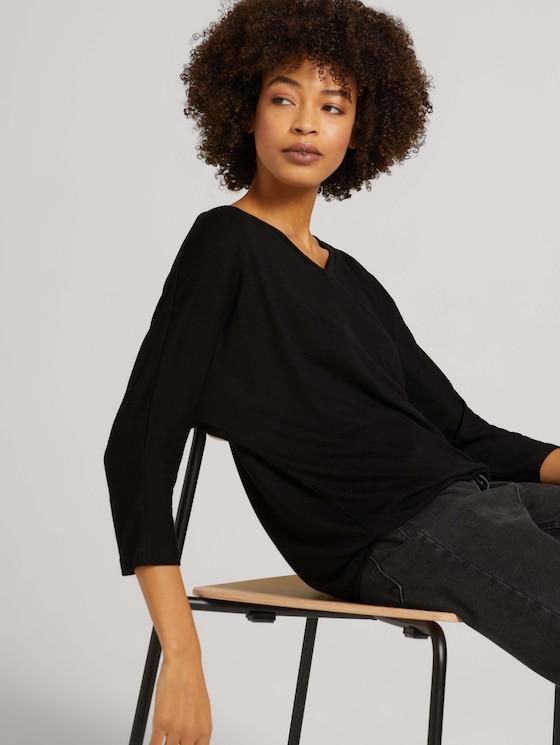 Gemêleerd shirt met elastische tailleband - Vrouwen - deep black - 5 - TOM TAILOR