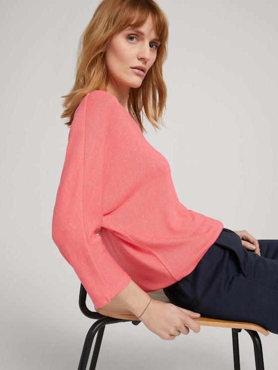 Meliertes Shirt mit elastischem Bund - Frauen - strong peach melange - 5 - TOM TAILOR