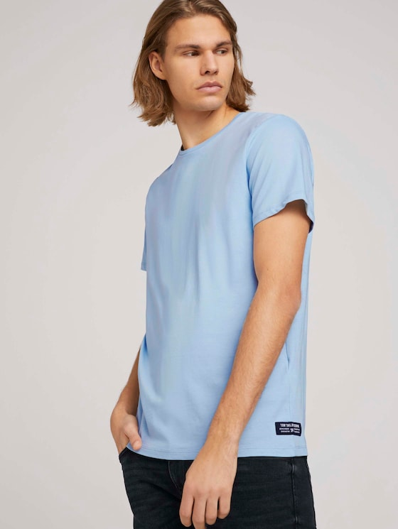 Basic T-Shirt mit Bio-Baumwolle   - Männer - Foggy Blue - 5 - TOM TAILOR Denim