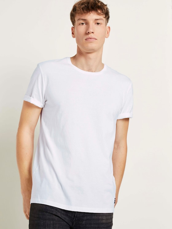 Basic T-Shirt mit Bio-Baumwolle - Männer - White - 5 - TOM TAILOR Denim