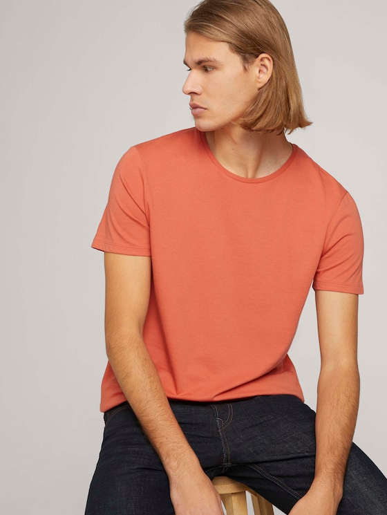 Basic T-Shirt mit Bio-Baumwolle   - Männer - orange lobster - 5 - TOM TAILOR Denim