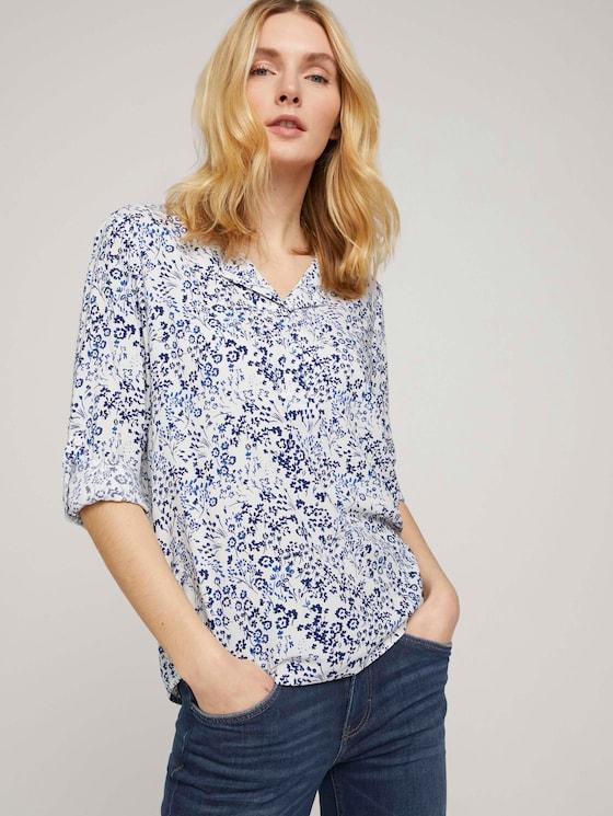Gemusterte Bluse mit LENZING™ ECOVERO™ und V-Ausschnitt - Frauen - navy offwhite flower design - 5 - TOM TAILOR