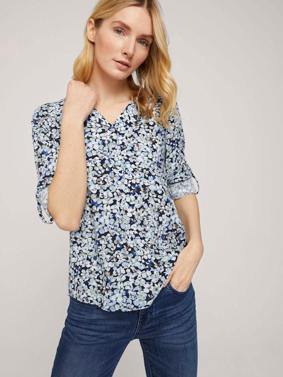 Blouse met V-hals en dessin - Vrouwen - navy floral design - 5 - TOM TAILOR