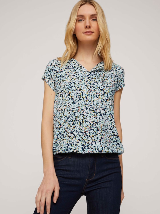 Gemusterte Bluse mit LENZING™ ECOVERO™ - Frauen - navy burred floral design - 5 - TOM TAILOR