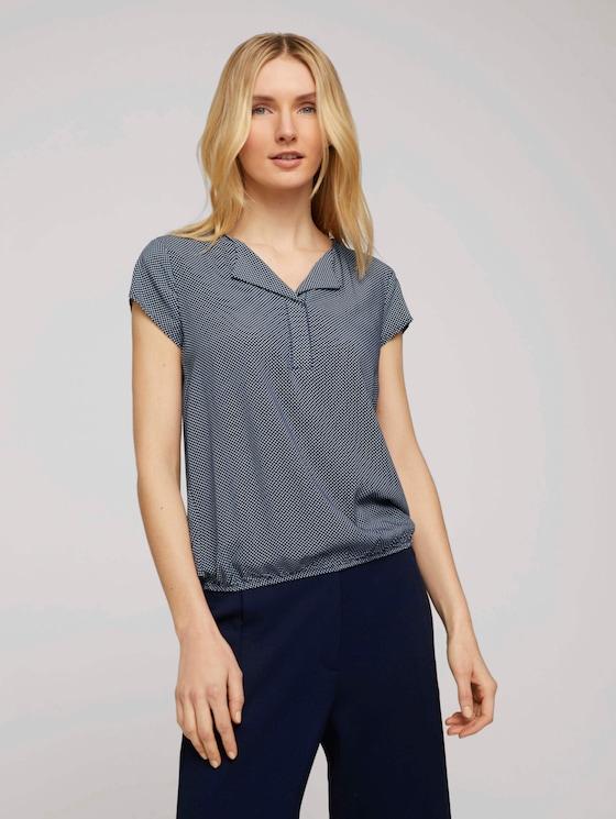 Gemusterte Bluse mit LENZING™ ECOVERO™ - Frauen - navy-white-minimal-design - 5 - TOM TAILOR