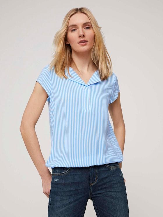 Gemusterte Bluse mit LENZING™ ECOVERO™ - Frauen - blue white vertical stripe - 5 - TOM TAILOR