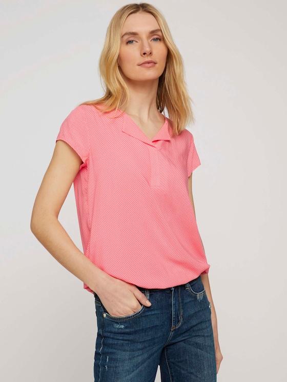 Gemusterte Bluse mit LENZING™ ECOVERO™ - Frauen - peach white minimal design - 5 - TOM TAILOR