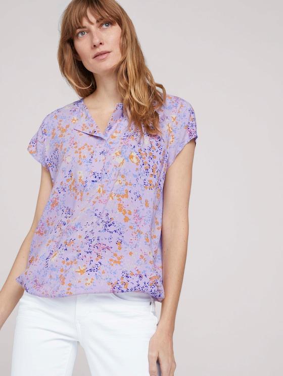 Gemusterte Bluse mit LENZING™ ECOVERO™ - Frauen - lilac yellow flower design - 5 - TOM TAILOR