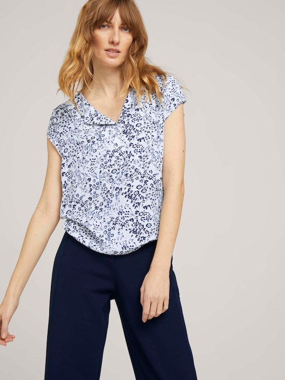 Gemusterte Bluse mit LENZING™ ECOVERO™ - Frauen - offwhite-flower-design - 5 - TOM TAILOR