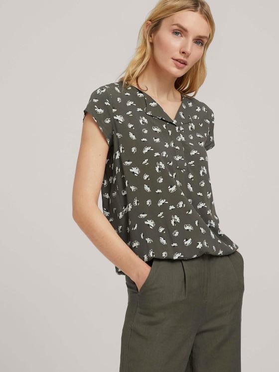 Gemusterte Bluse mit LENZING™ ECOVERO™ - Frauen - khaki small floral design - 5 - TOM TAILOR