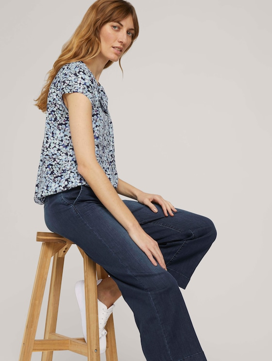 Gemusterte Bluse mit LENZING™ ECOVERO™ - Frauen - navy colorful floral design - 5 - TOM TAILOR