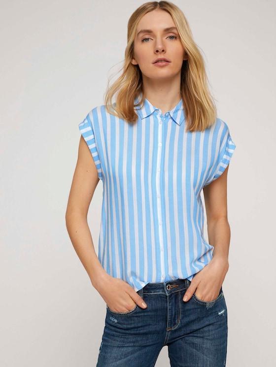 Gestreifte Kurzarm Hemdbluse - Frauen - blue offwhite vertical stripe - 5 - TOM TAILOR