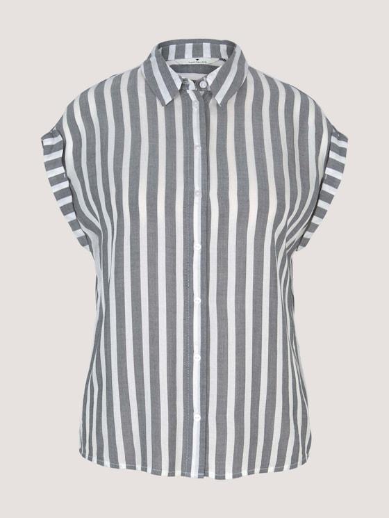 Gestreifte Kurzarm Hemdbluse - Frauen - offwhite navy vertical stripe - 7 - TOM TAILOR