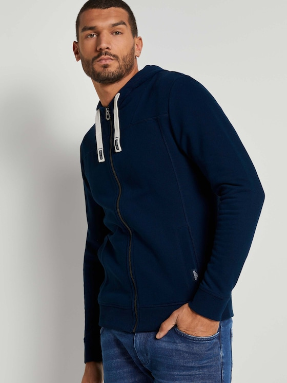Sweatjacke mit Kapuze - Männer - Sky Captain Blue - 5 - TOM TAILOR