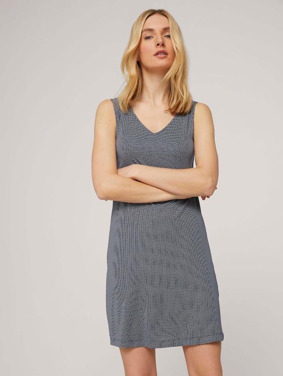 Ärmelloses Jerseykleid mit V-Ausschnitt - Frauen - navy white minimal design - 5 - TOM TAILOR