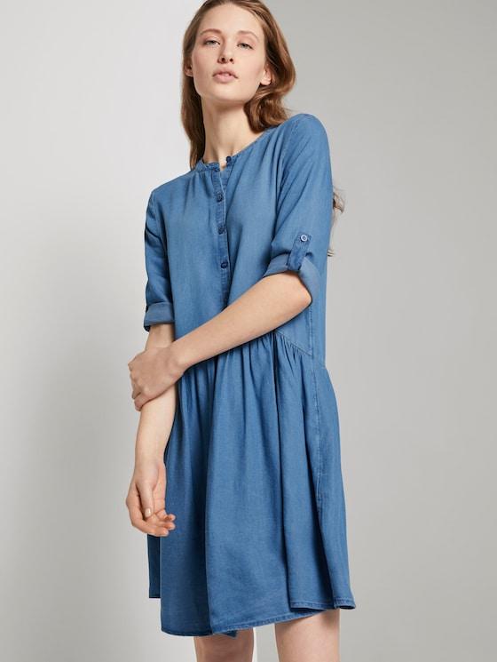 Denim jurk met ruches - Vrouwen - Blue Denim - 5 - TOM TAILOR Denim