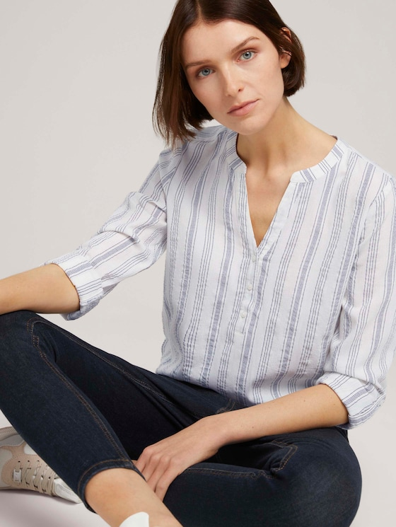 Gestreifte Tunika - Frauen - white blue vertical stripe - 5 - TOM TAILOR Denim