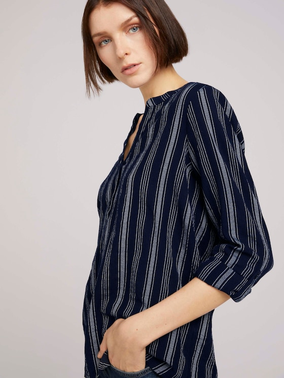 Gestreifte Tunika mit Bio-Baumwolle - Frauen - navy white vertical stripe - 5 - TOM TAILOR Denim