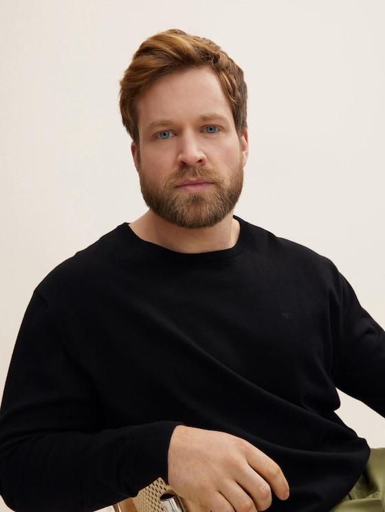 Basic Pullover mit Logo-Stickerei - Männer - Black - 5 - Men Plus