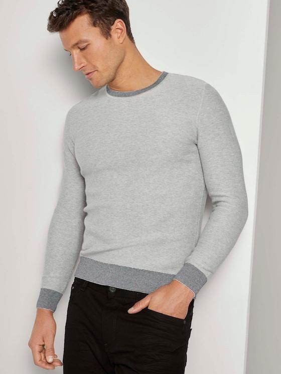 Trui met gemengde textuur - Mannen - Light Soft Grey Melange - 5 - TOM TAILOR