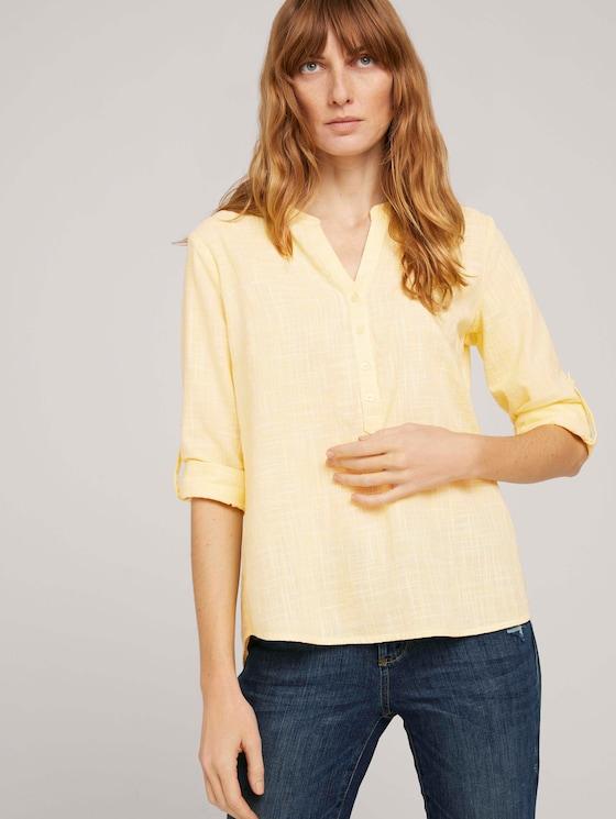 Strukturierte Henley Bluse - Frauen - smooth yellow - 5 - TOM TAILOR