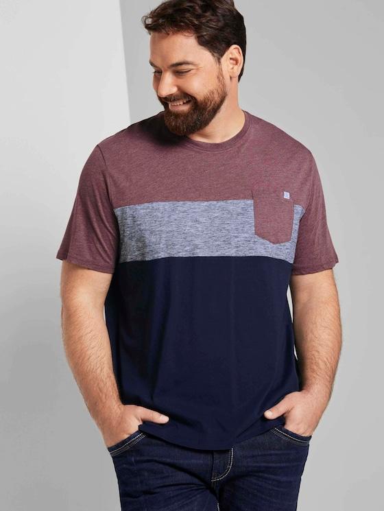 Blockstreifen T-Shirt mit Brusttasche - Männer - Dusty Wildberry Red - 5 - Men Plus