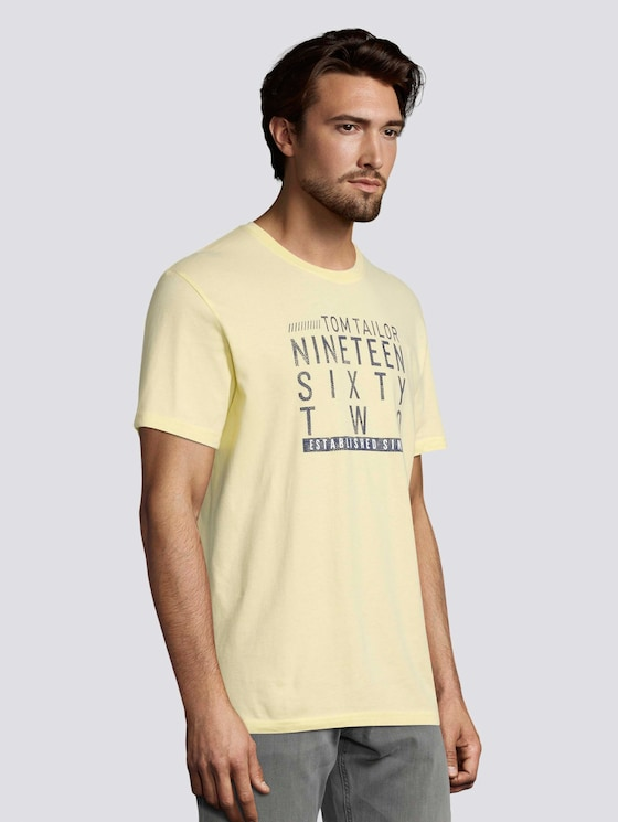 T-Shirt mit Print - Männer - pale straw yellow - 5 - TOM TAILOR
