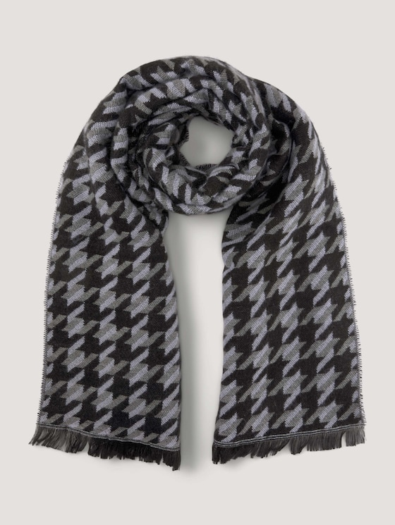 Soft scarf with a houndstooth pattern - Women - black statement check - 7 - Mine to five