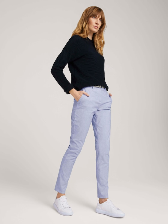 Chino Slim Hose mit Bio-Baumwolle  - Frauen - Thin Stripe Pants - 3 - TOM TAILOR