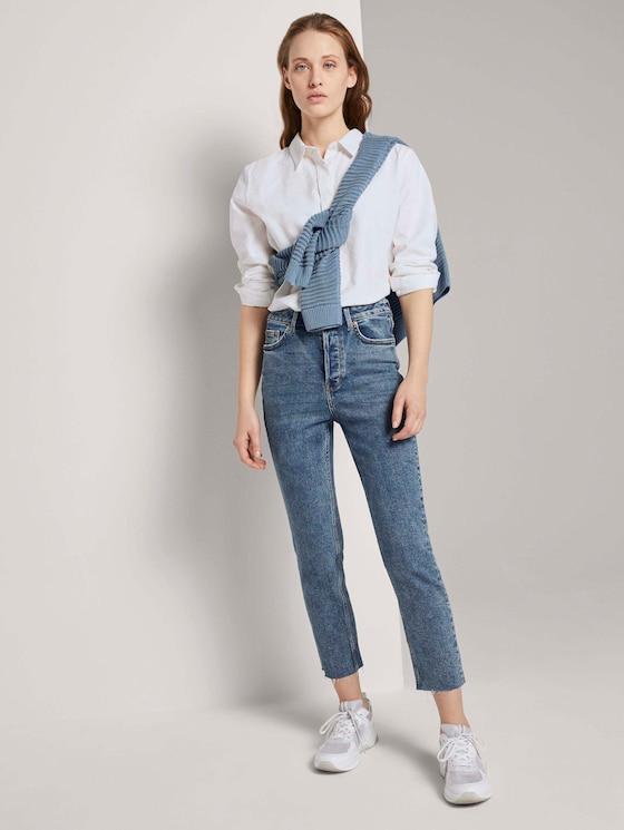 Lotte Highwaist Rechte Jeans - Vrouwen - Used Mid Stone Blue Denim - 3 - TOM TAILOR Denim