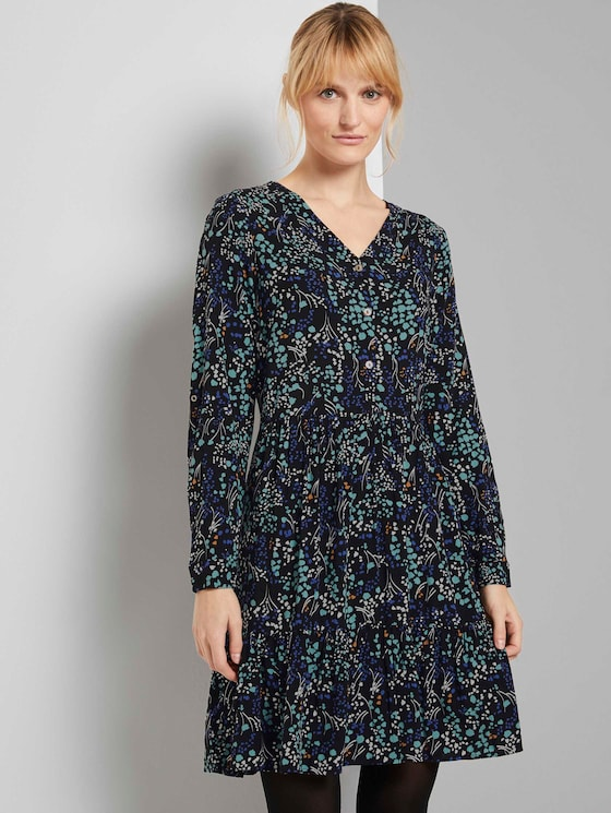 Gemustertes Kleid mit Volants - Frauen - black floral design - 5 - TOM TAILOR