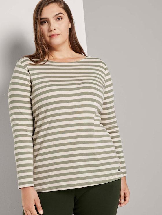 Gestreiftes Langarmshirt - Frauen - green sand stripe - 5 - My True Me