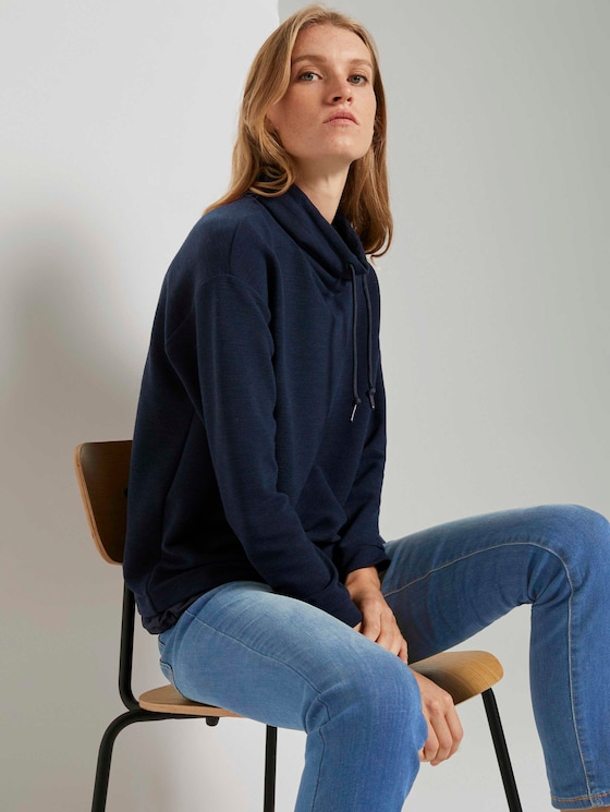 Funktionales Sweatshirt mit Struktur - Frauen - Sky Captain Blue - 5 - TOM TAILOR