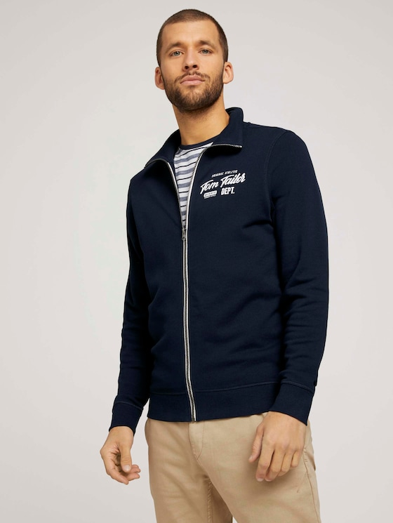 Sweatjacke mit Print - Männer - Dark Blue - 5 - TOM TAILOR