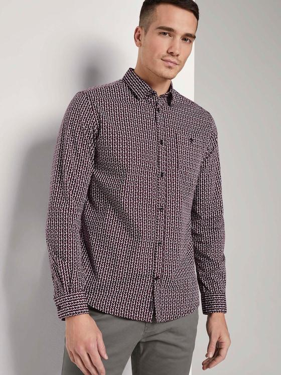 Gemustertes Hemd mit Brusttasche - Männer - burgundy tonal minimal design - 5 - TOM TAILOR