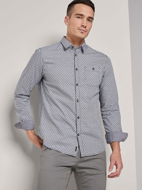 Gemustertes Hemd mit Brusttasche - Männer - blue tonal minimal design - 5 - TOM TAILOR
