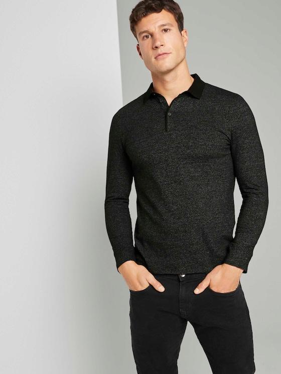 Gemustertes Langarm Poloshirt - Männer - Black - 5 - TOM TAILOR