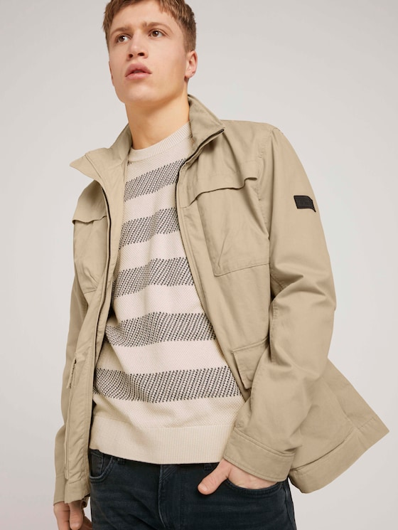 Easy Field Jacket made with organic cotton  - Men - Smoked Beige - 5 - TOM TAILOR Denim