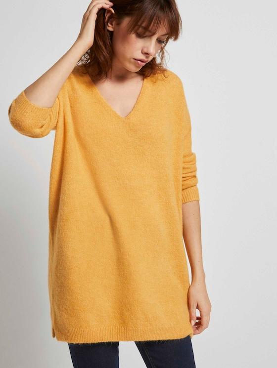 Langer Pullover mit V-Ausschnitt - Frauen - Indian Spice Yellow - 5 - TOM TAILOR Denim