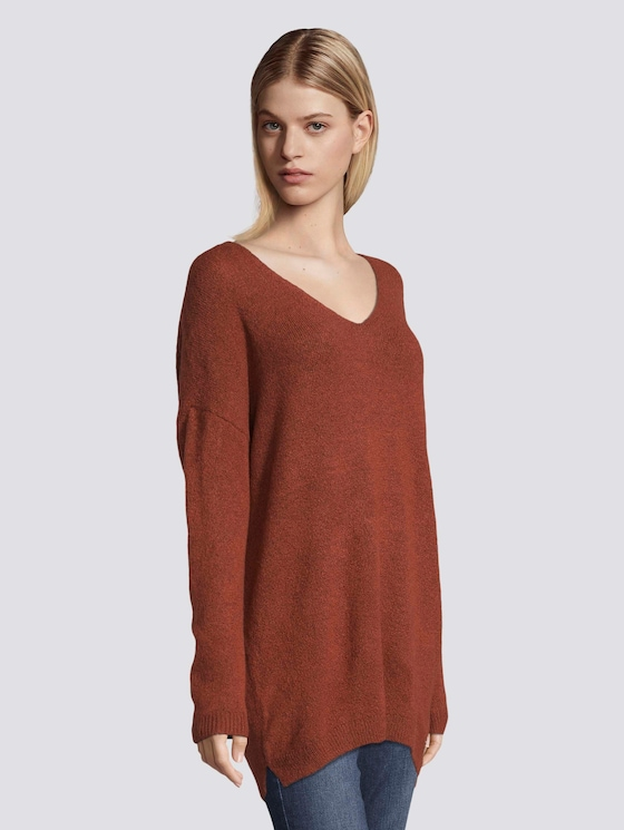 Langer Pullover mit V-Ausschnitt - Frauen - Rust Orange - 5 - TOM TAILOR Denim