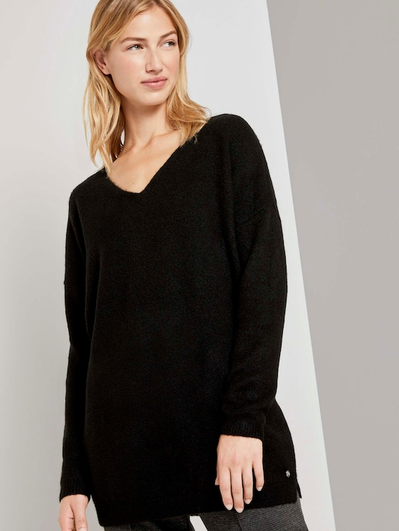 Langer Pullover mit V-Ausschnitt - Frauen - deep black - 5 - TOM TAILOR Denim