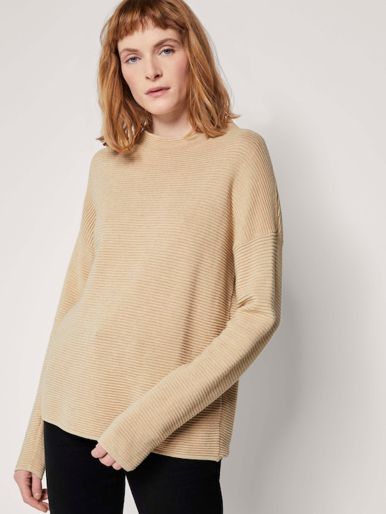 Pullover in Ottoman Struktur - Frauen - warm sand melange - 5 - TOM TAILOR