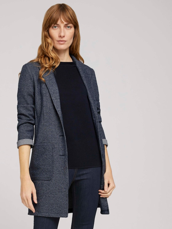 Longblazer in Melange Optik - Frauen - indigo melange - 5 - TOM TAILOR