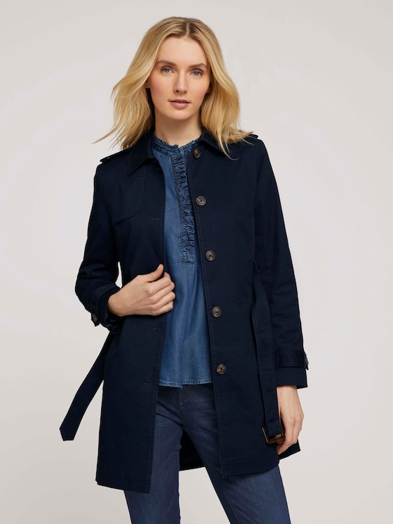 Trenchcoat aus Bio-Baumwolle - Frauen - Sky Captain Blue - 5 - TOM TAILOR