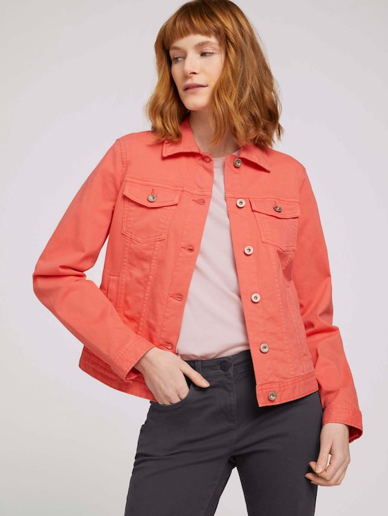 Gefärbte Jeansjacke mit Bio-Baumwolle   - Frauen - Smooth Papaya Red - 5 - TOM TAILOR