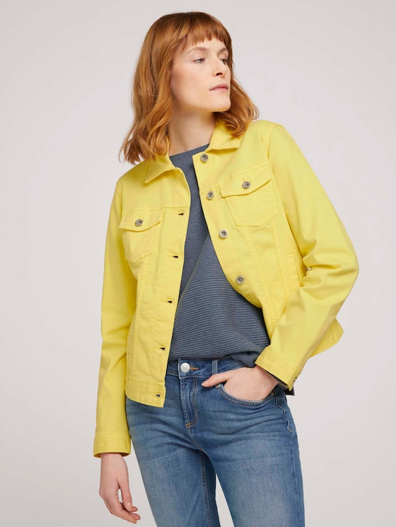 Dyed denim jacket made with organic cotton  - Women - smooth yellow - 5 - TOM TAILOR