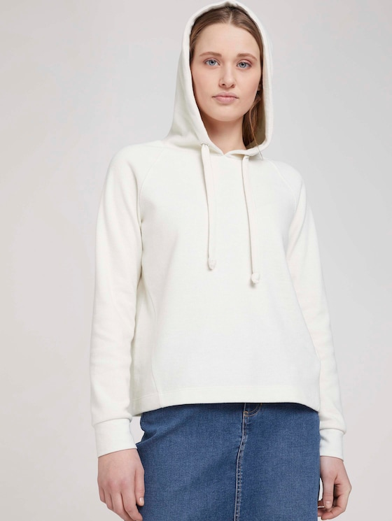 Basic Hoodie mit Nahtdetail - Frauen - Gardenia White - 5 - TOM TAILOR Denim