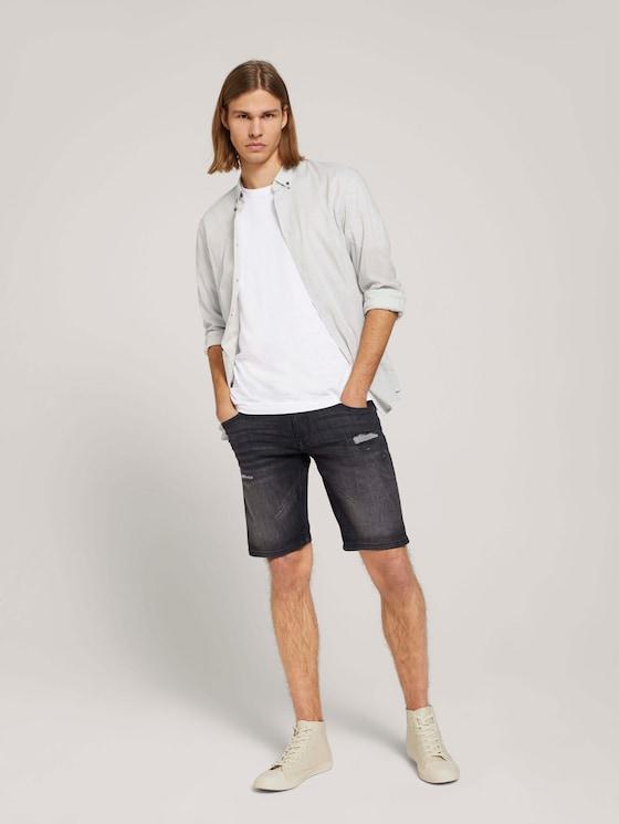 Destroyed Regular Jeans-Shorts - Männer - destroyed dark stone black den - 3 - TOM TAILOR Denim